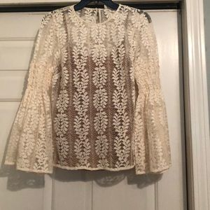 MICHAEL KORS lace peasant top